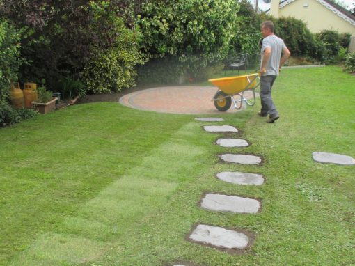 Stepping Stone`s paving set into lawn, plus roll on grass and patio.